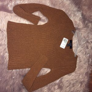 V neck brown sweater top🍂
